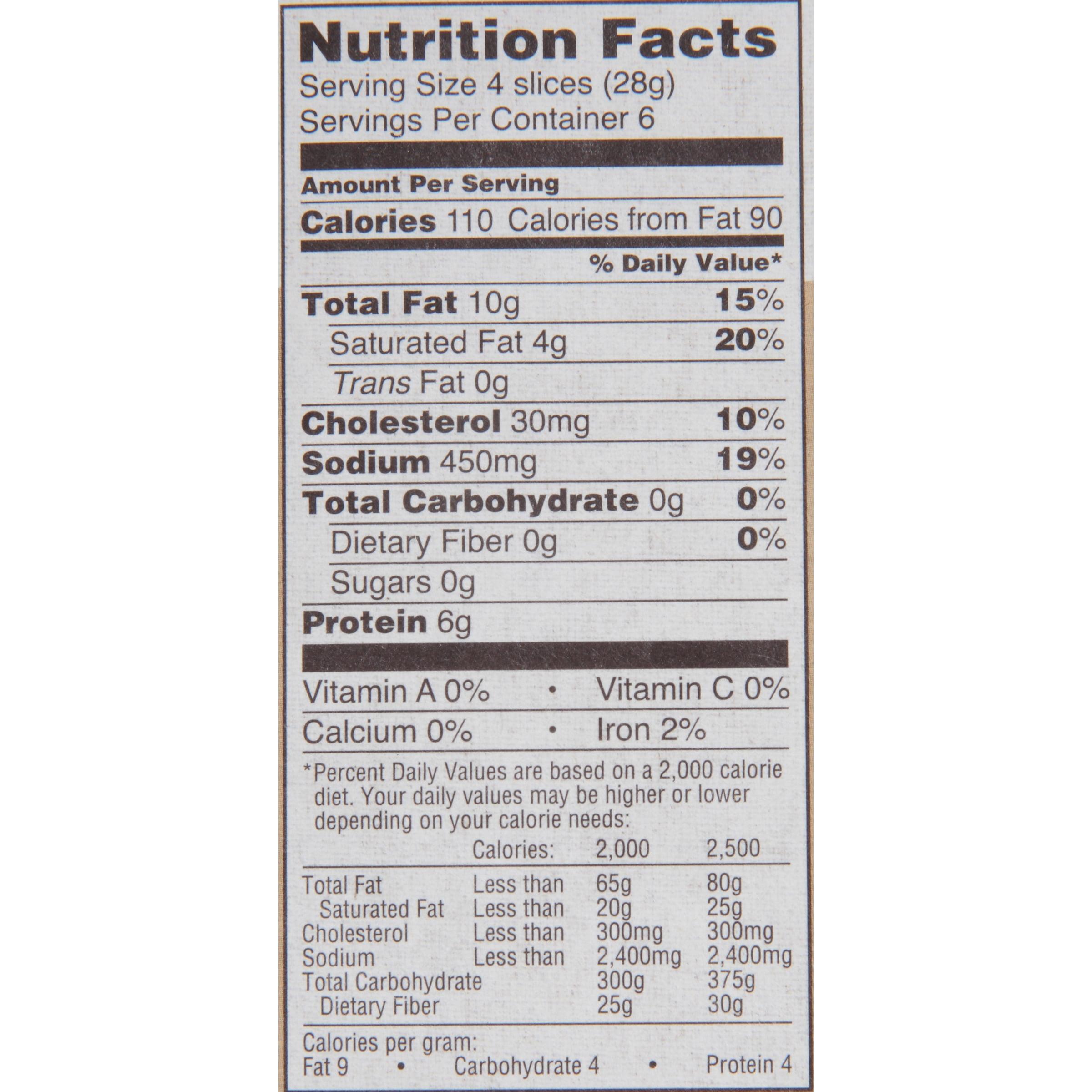 Eckrich Salami Nutrition Facts
