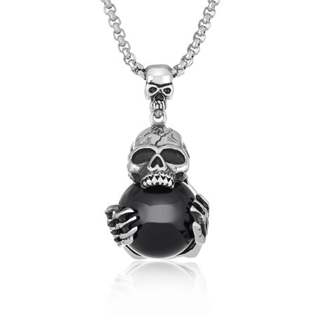 Crowned Skull Pendant - Antiqued Stainless Steel Black Orb Skull Pendant (30mm Wide)