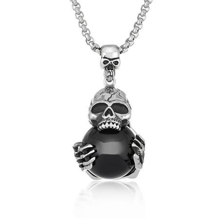 Antiqued Stainless Steel Black Orb Skull Pendant (30mm -