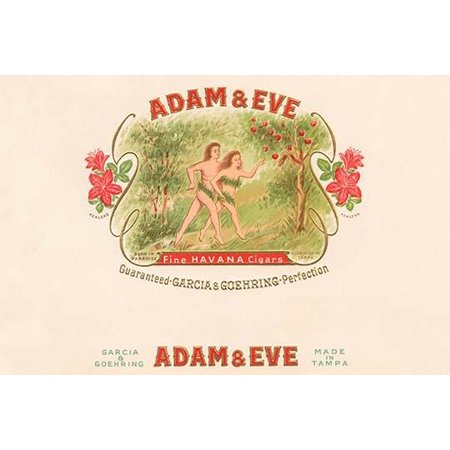A cigar box label featuring the biblical couple Adam and Eve leaving the garden of Eden  A clever name because it associated the perfect garden with tobacco leaves to become the best smoke Poster