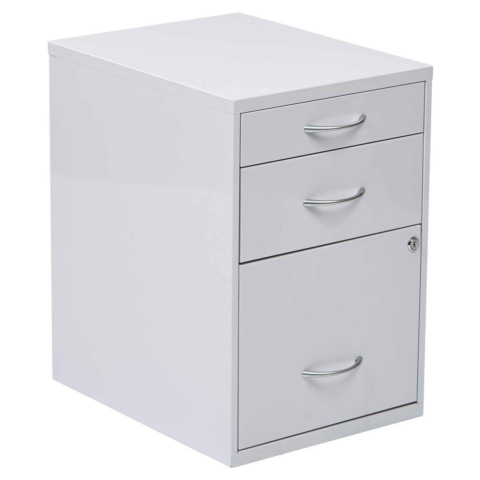 Osp Designs 3 Drawer Vertical Metal Lockable Filing Cabinet, White
