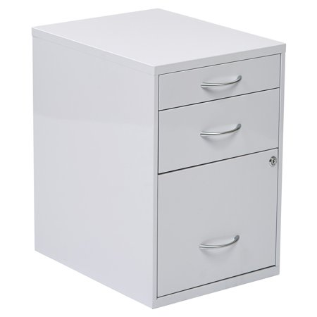 Osp Designs 3 Drawer Vertical Metal Lockable Filing Cabinet, White ()