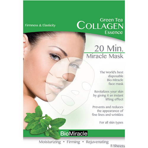 BioMiracle Green Tea Collagen Essence Face Masks, 5 count