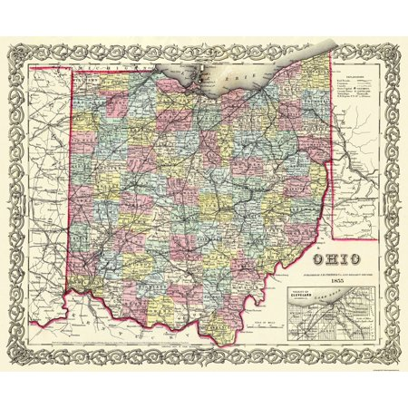 Old State Map   Ohio   Colton 1855   28 X 23