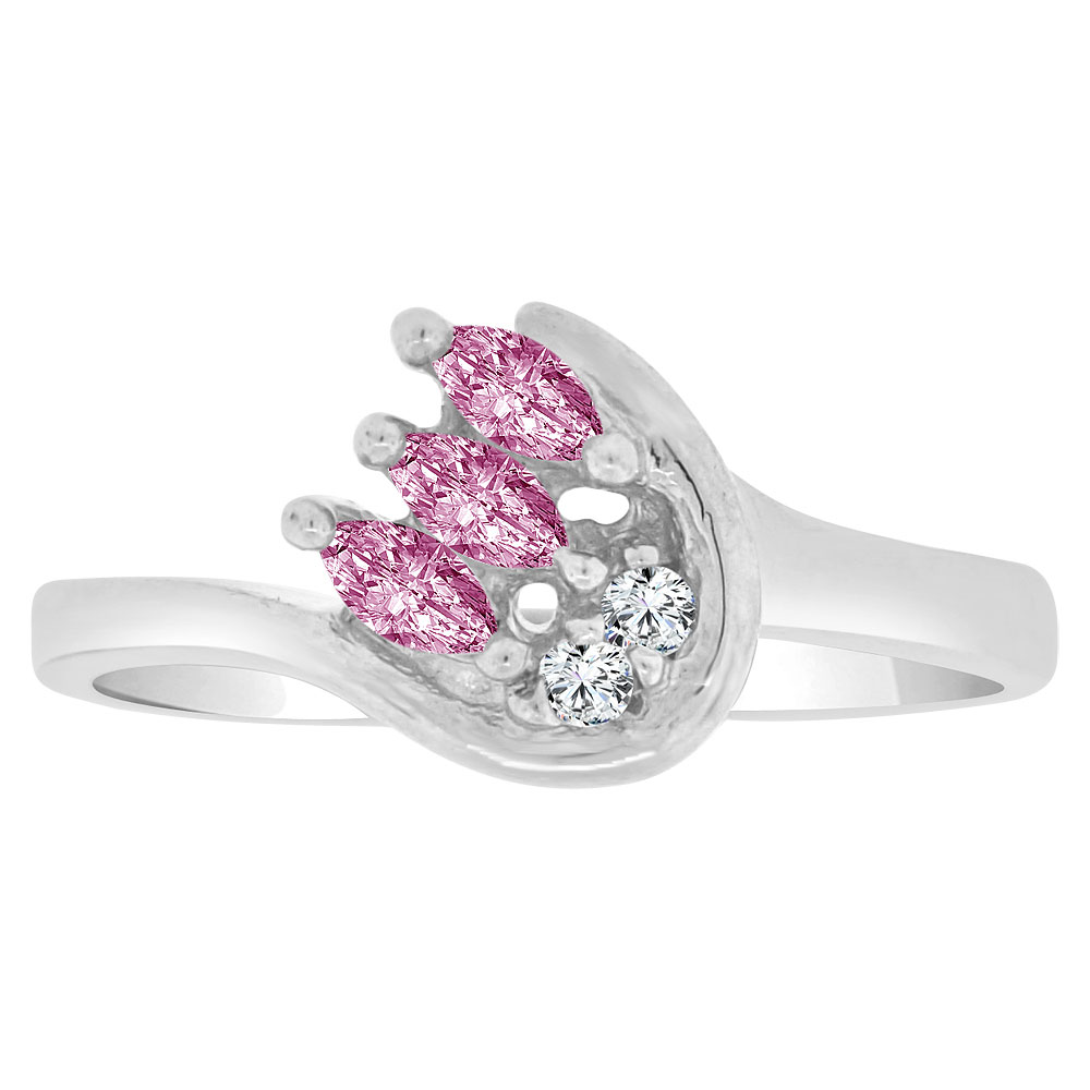 Sterling Silver White Rhodium, Small Cluster Ring Cut Purple CZ Crystals Jun Created Birthstones