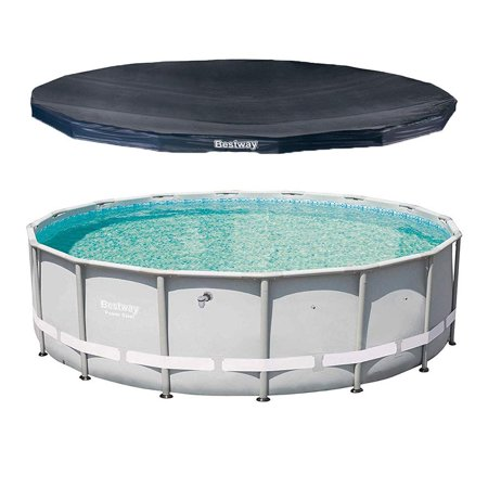 13429 16ft x 48in Power Steel Pro Frame Above Ground Outdoor Swimming Pool, Polyester 3 Ply Walls with Round 16 Foot PVC Pool Cover, PVC Repair Patch and Rope Included, UV Ray Deflecting (Best Way To Peel Peaches)