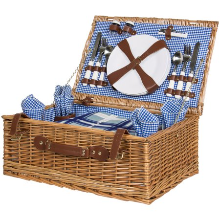 Best Choice Products 4 Person Wicker Picnic Basket Set Casual English Picnic Basket