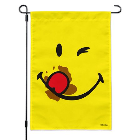 Image of Smiley Smile Messy Eater Wink Yellow Face Garden Yard Flag