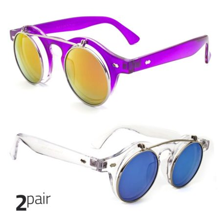 2 Pair Cool Flip Up Lens Steampunk Vintage Retro Round Sunglasses Purple Clear - Pair Clear Lens