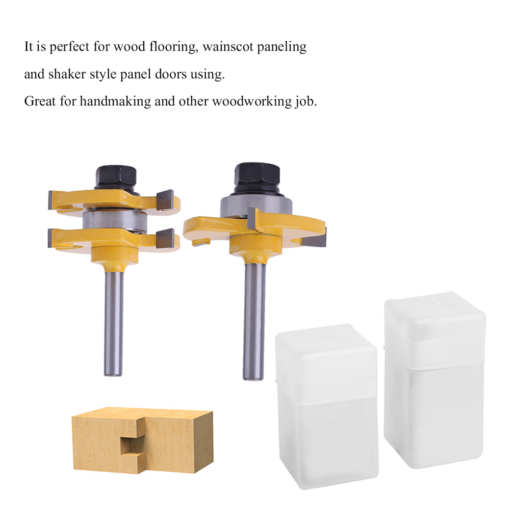 Practical 2 Pcs Bit Tongue And Groove Router Bit Set 1/4 Inch Shank Wood Milling Cutter Wood Working Tool
