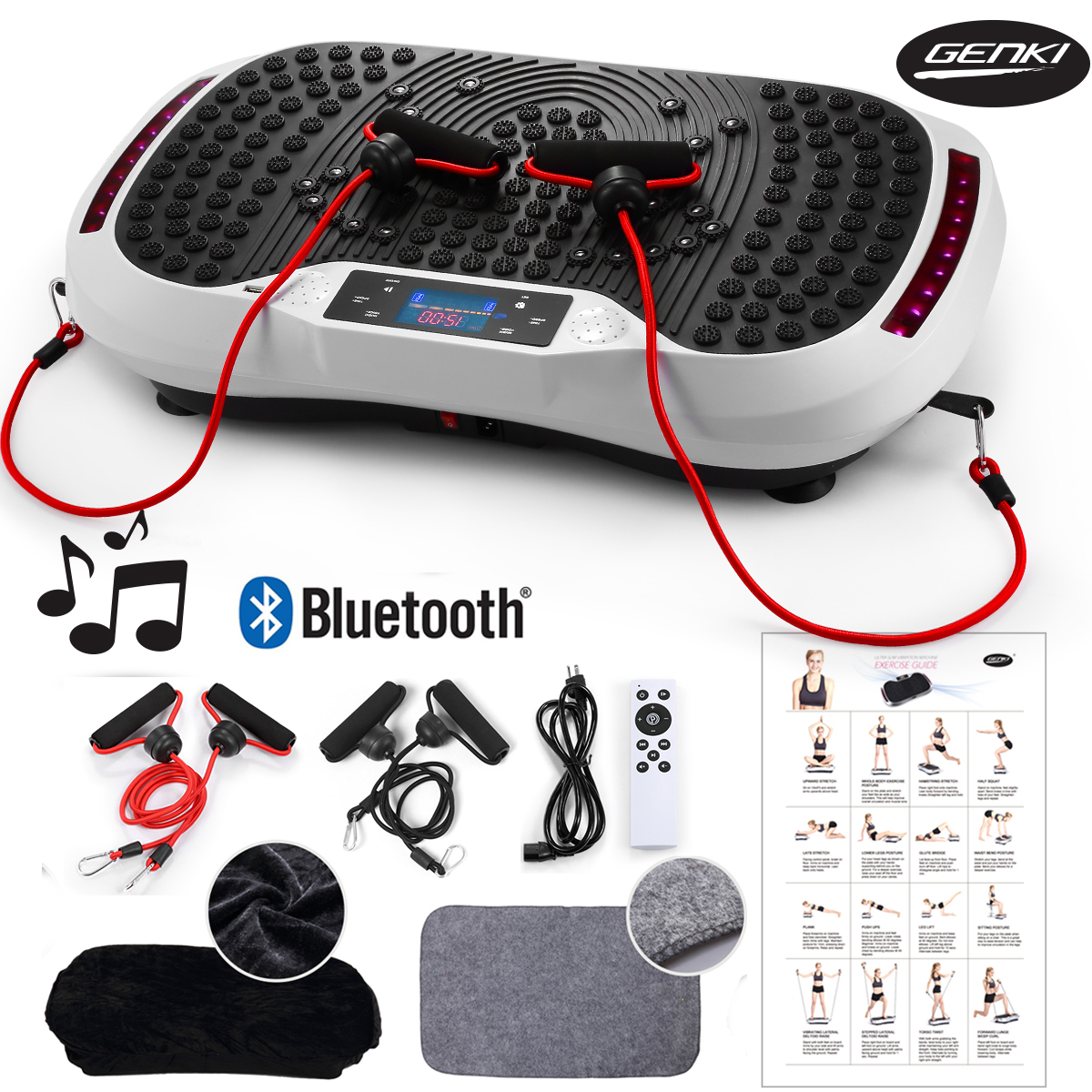 Genki MP3 Player Vibration Platform Fitness Machine, Whole Body Exercise Workout Plate, Massager Shaper, Bluetooth/USB Music & LCD w/ Remote, 2 Balance Straps, Mat, Cover & Poster, White