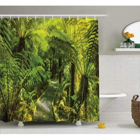 Rainforest Decorations  Rainforest Walkway Board Ferns Wet Rural Spring Traveling Destination Nature Zen, Bathroom Accessories, 69W X 84L Inches Extra Long, By Ambesonne - Boarded Up Window Halloween Decoration