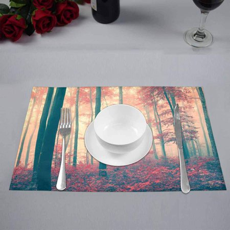 YUSDECOR Red Vintage Fairytale Season Forest Natural Theme Placemats Table Mats for Dining Room Kitchen Table Decoration 12x18 inch,Set of 6 - image 4 de 4