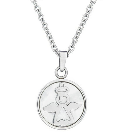 Jewelry Stainless Steel Silver-Tone Angel With Mother of Pearl Inlay Inspirational Religious Pendant, 18 - Mother Of Pearl Inlay Taper