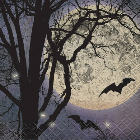 Halloween Cocktail Ideas (Spooky Night Halloween Cocktail Napkins, 5in,)