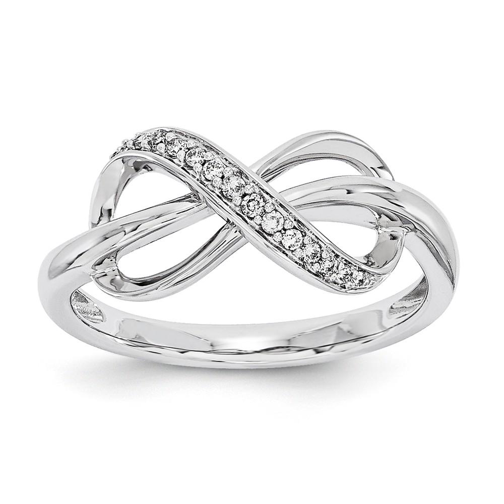 14K White Gold Diamond Bowtie Fashion Ring. Carat Wt- 0.08ct