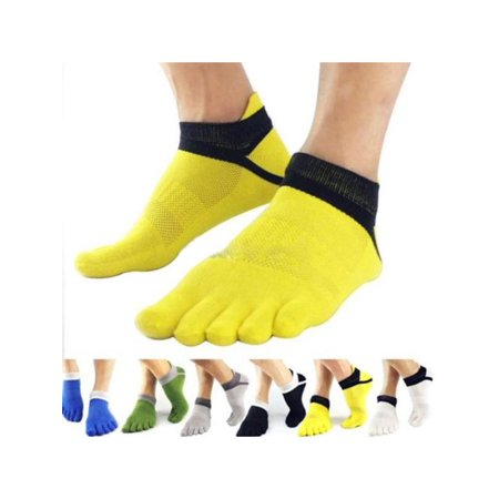 VICOODA Men's Cotton 5 Finger Toe Socks Running No Show Breathable Short Sport (Breathable Smock)