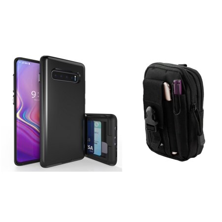 Beyond Cell Duo Shield Series Compatible with Samsung Galaxy S10+ Plus with Slim Hybrid Shockproof Wallet Case (Black), Tactical Holder Pouch and Atom Cloth (Samsung Galaxy Duos Plus)