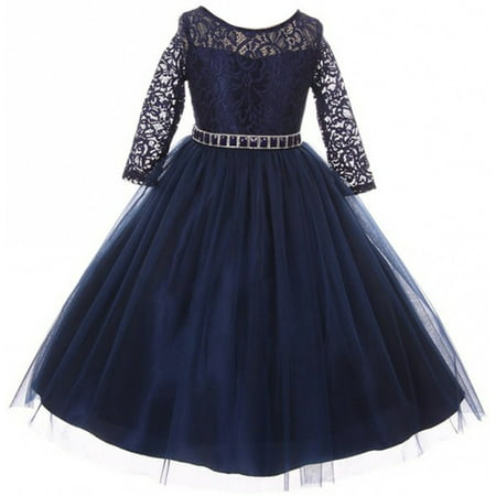 Little Girls Dress Lace Top Rhinestones Tulle Holiday Christmas Party Flower Girl Dress Navy Size 2 (M37BK2)