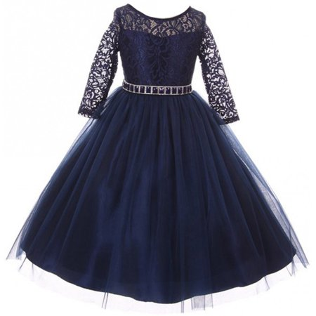 super quality timeless design good out x Big Girls' Dress Lace Top Rhinestones Tulle Holiday Christmas Party Flower  Girl Dress Navy Size 12 (M37BK2)