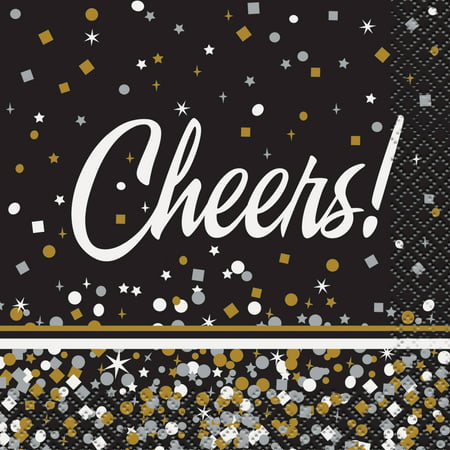 Monogrammed Cocktail Napkins - Black & Gold Confetti Cheers Cocktail Napkins, 16ct