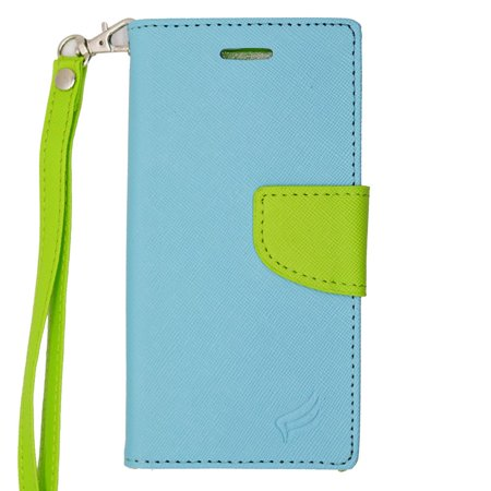 EagleCell Folio Leather Fabric Card slot Holder Stand Case with Lanyard For Apple iPhone 6s / iPhone 6 - Light Blue/Green (Apple Lanyard)