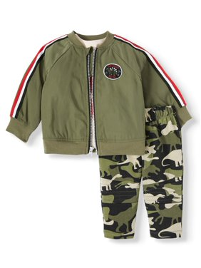 Wonder Nation Jacket, T-Shirt, and Pant 3pc Outfit Set (Baby Boys)