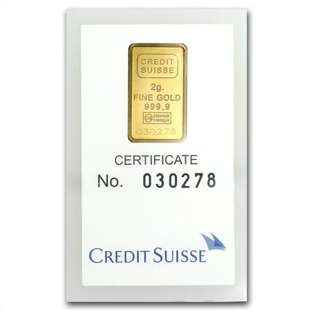 2 Gram Gold Bar   Credit Suisse Statue Of Liberty  In Assay