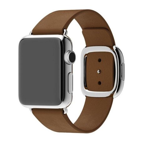 Brown Leather Band (Smooth Granada Leather Replacement Band with Modern Buckle - 42mm - Brown )