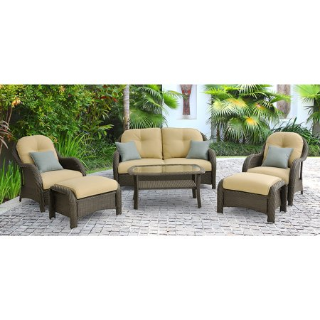 amusing piece patio furniture sets | Hanover Newport 6-Piece Outdoor Wicker Lounge Set ...