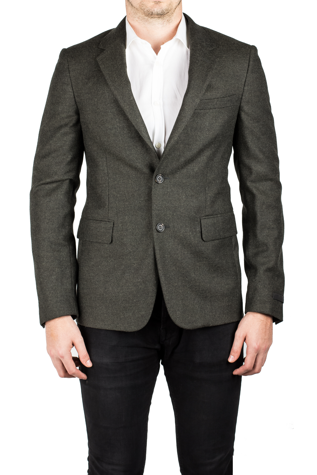 Prada Men's Notched Lapel Virgin Wool Viscose Sport Jacket Coat Blazer Olive by Prada