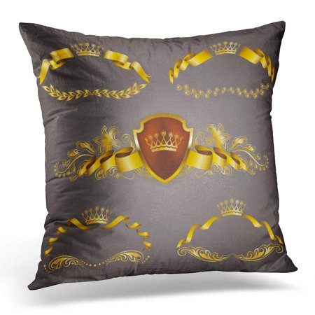 ARHOME Gold VIP Monograms for Graphic on Gray Elegant Graceful Ribbon Filigree Border Crown in Vintage Pillow Case Pillow Cover 18x18 inch