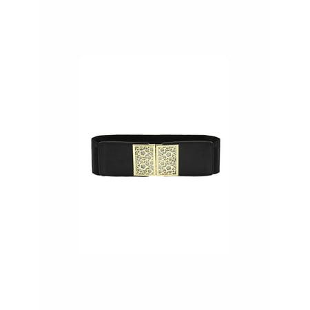 Cotton Elastic Waist Belt - Women's Metal Decor Interlocking Buckle Elastic Waist Belt