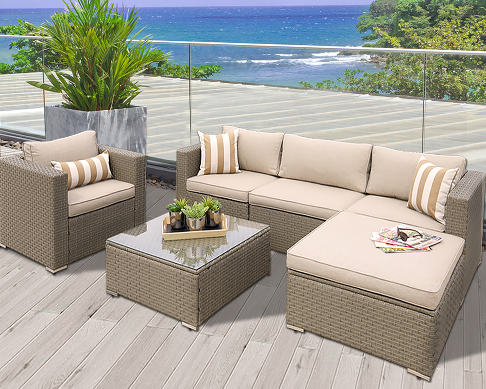 Suncrown Outdoor Modular Sectional Furniture Set (6-Piece ...