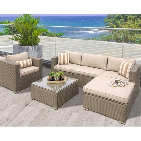 Suncrown Outdoor Modular Sectional Furniture Set (6-Piece) All-weather Grey  Wicker - Suncrown Outdoor Modular Sectional Furniture Set (6-Piece) All