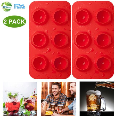 2 Pack Silicone Ice Cube Trays BPA Free Ice Cube Molds Easy Release Flexible FDA Approved Trays for Chill Drinks Whiskey Cocktail, Dishwasher Safe and Stackable Durable (Red)