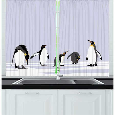 Penguin Curtain - Animal Curtains 2 Panels Set, Penguins on Polar Icy Land Winter Climate Arctic Cold Season Creatures Print, Window Drapes for Living Room Bedroom, 55W X 39L Inches, Lilac Grey White, by Ambesonne