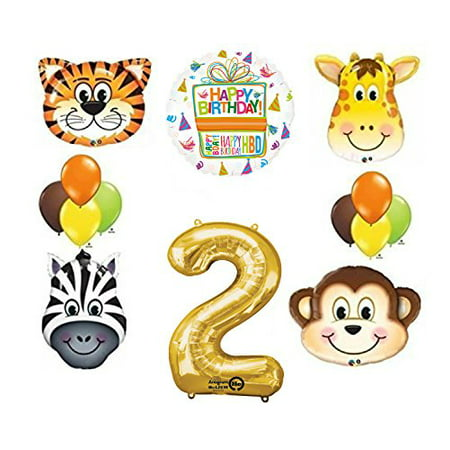 Jungle Animal Safari Second 2nd Birthday Party Supplies and Balloon Decorations for $<!---->