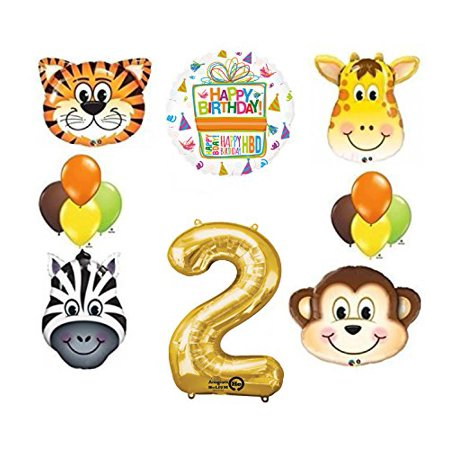Jungle Animal Safari Second 2nd Birthday Party Supplies and Balloon - Jungle Safari Balloons