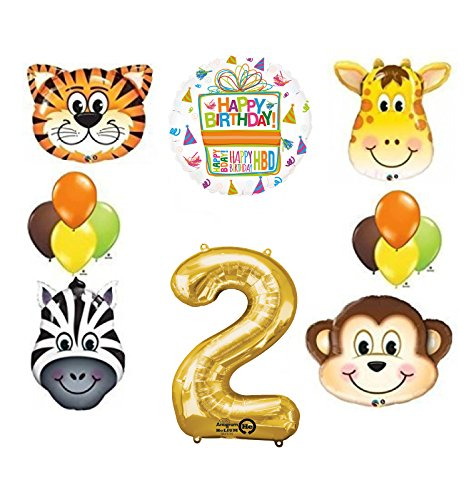 Jungle Animal Safari Second 2nd Birthday Party Supplies and Balloon Decorations