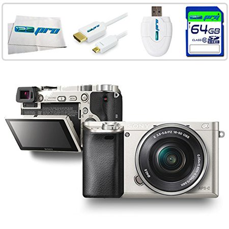 Sony Alpha a6000 ILCE6000 Interchangeable Lens Camera with 16-50mm Power Zoom Lens (Silver) + 64GB Expo-Accessory Starter Bundle