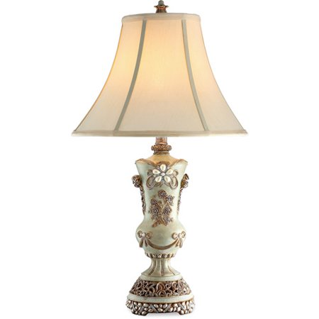 Ore international inc vintage rose table lamp ivory and for Table decor international inc