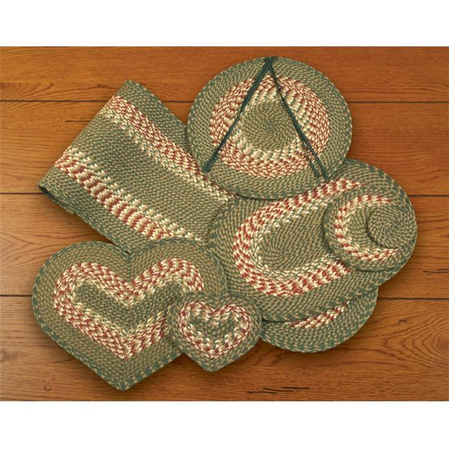 Earth Rugs 40-009 Green-Burgundy Oval Placemat