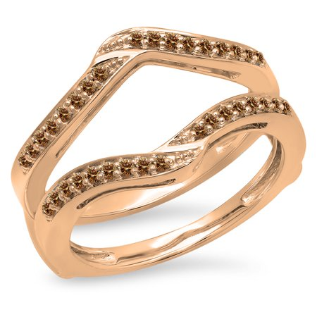 0.30 Carat (ctw) 18K Rose Gold Round Champagne Diamond Ladies Anniversary Wedding Band Enhancer Guard Double Ring 1/3 (Champagne Diamond Anniversary Ring)