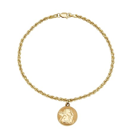 10kt Yellow Gold Rope Bracelet with Raphael Angel Disk, (Rope Strand Bracelet)