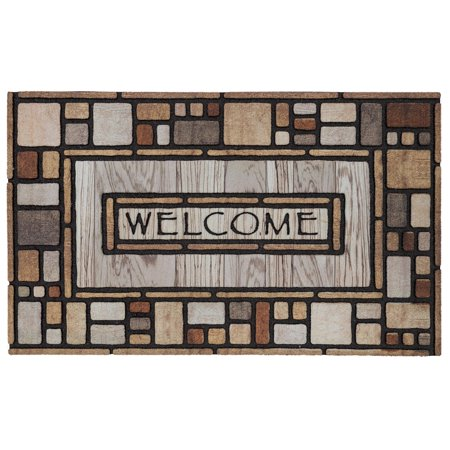 Mohawk Doorscapes Estate Mat Area Rugs - 4541 16562 Traditional Oriental Multi Blocks Squares Bars Words Rug 1' 11