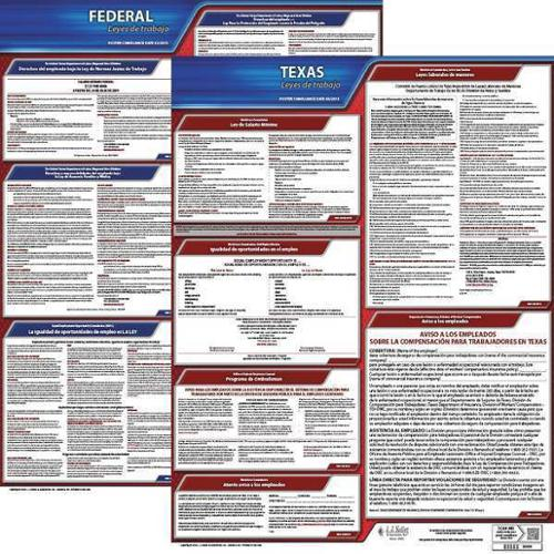 JJ KELLER 200-TXWC-K Labor Law Poster Kit, TX, Spanish, 27 In. W