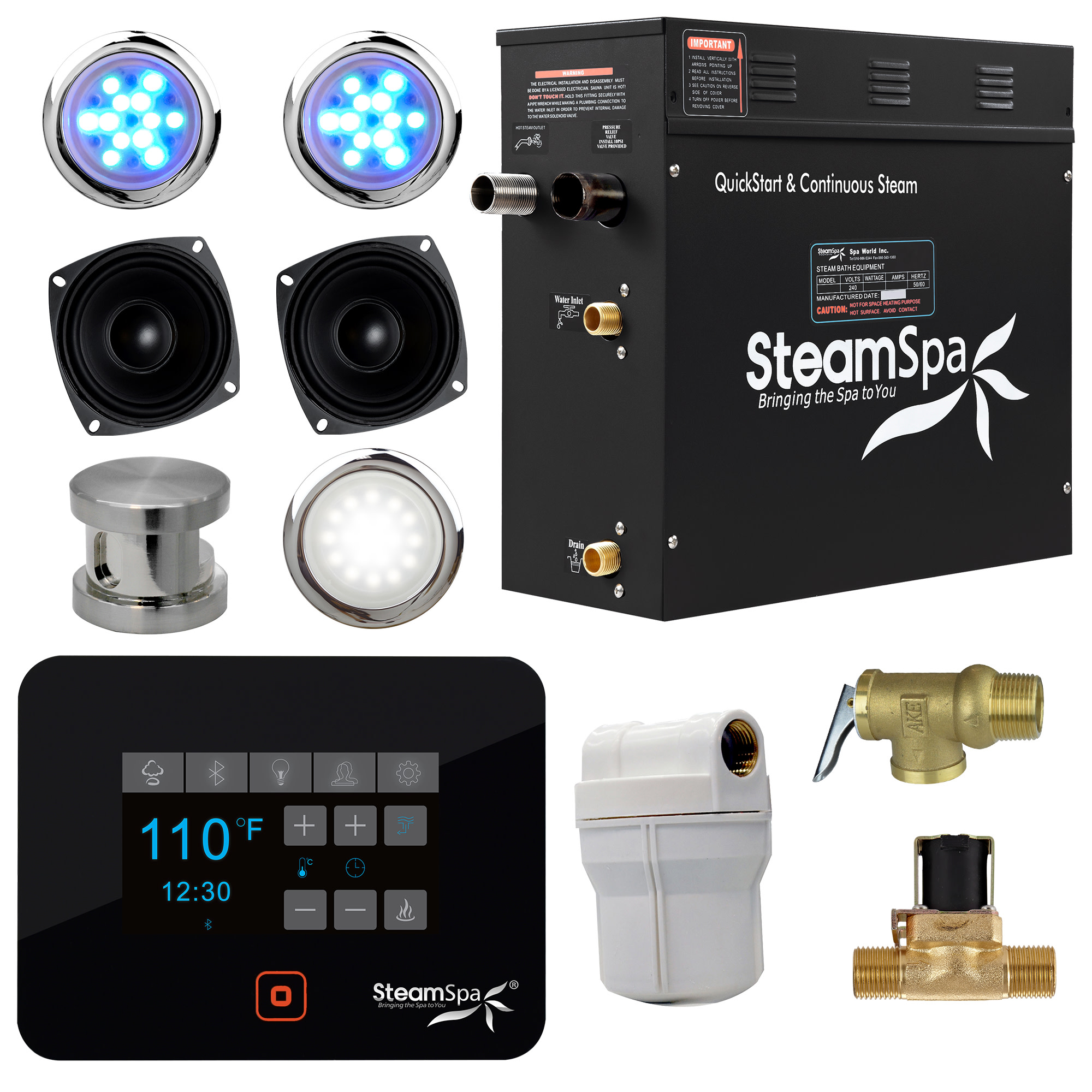 Steamspa Bkt750 A Black Series Bluetooth 7 5kw Quickstart Steam Bath Generator Package Walmart Com Walmart Com