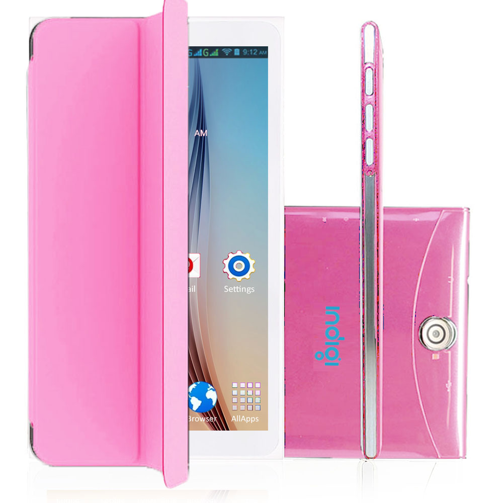 "Indigi® 7.0"" 3G Factory Unlocked 2-in-1 Android 4.4 KitKat SmartPhone & TabletPC w/ Built-in Smart Cover (Pink)"