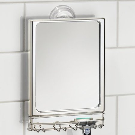 Steel Polarized Gray Mirror - InterDesign Lineo Power Lock Mirror, Stainless Steel